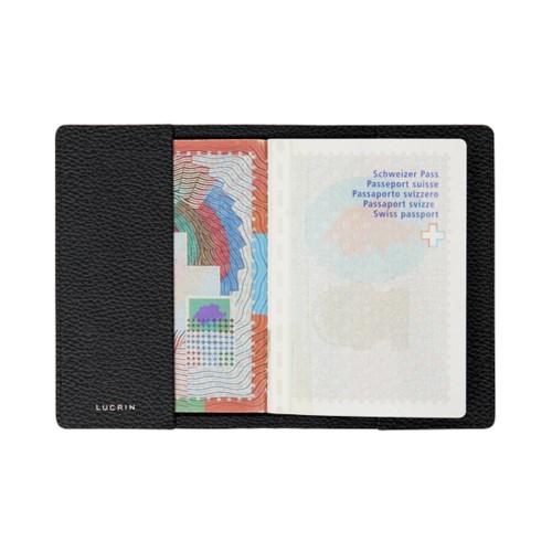 Housse universelle pour passeport - Noir - Cuir Grainé