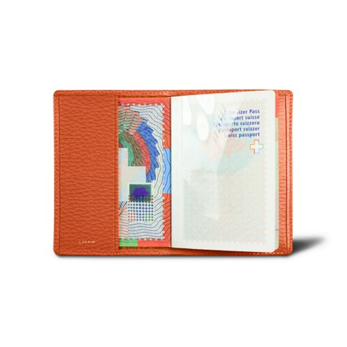 Universal passport cover - Orange - Granulated Leather