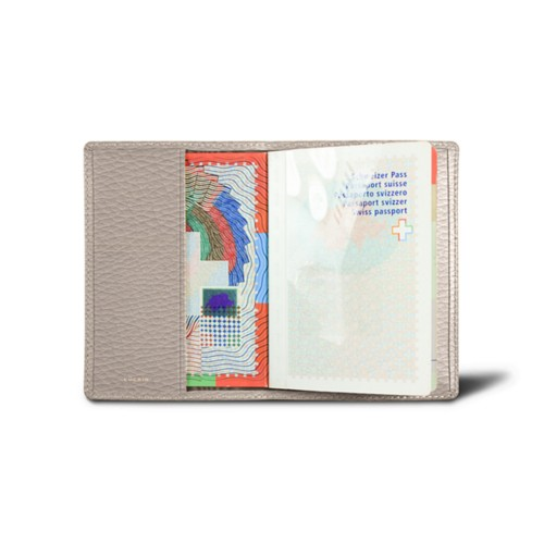 Universal Passport Cover - Light Taupe - Granulated Leather