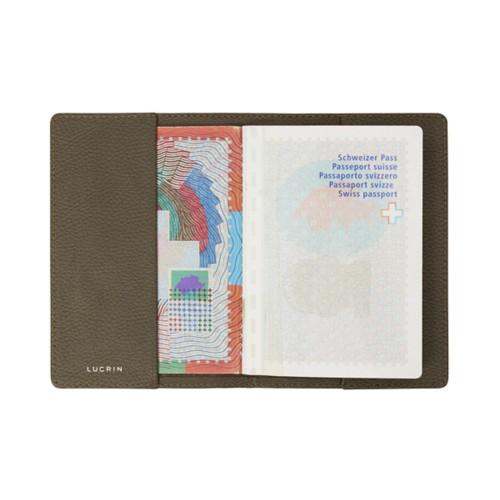 Housse universelle pour passeport - Taupe Foncé - Cuir Grainé