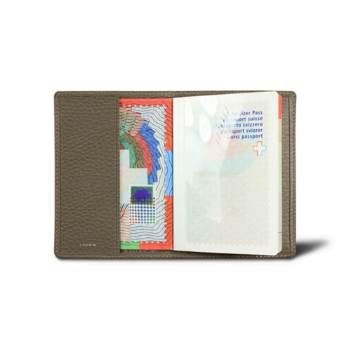 Universal passport cover - Dark Taupe - Granulated Leather