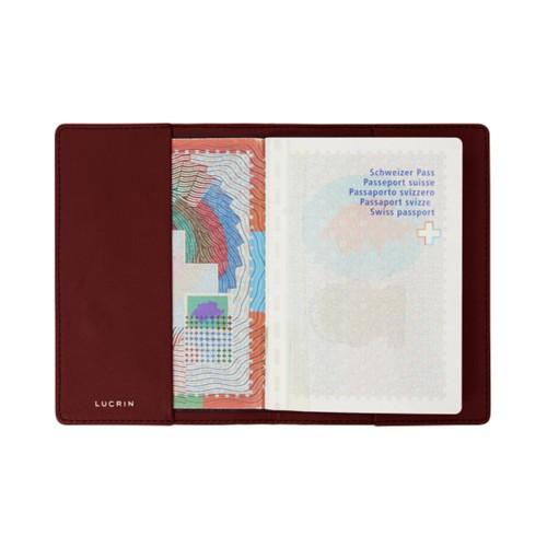 Housse universelle pour passeport - Bordeaux - Cuir Lisse
