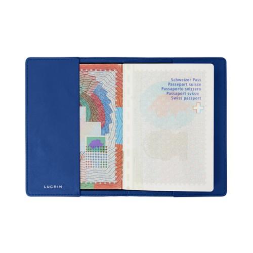 Housse universelle pour passeport - Bleu Roi - Cuir Lisse