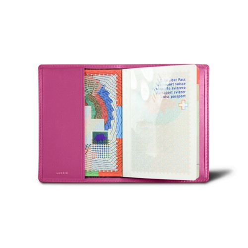 Universal Passport Cover - Fuchsia  - Smooth Leather