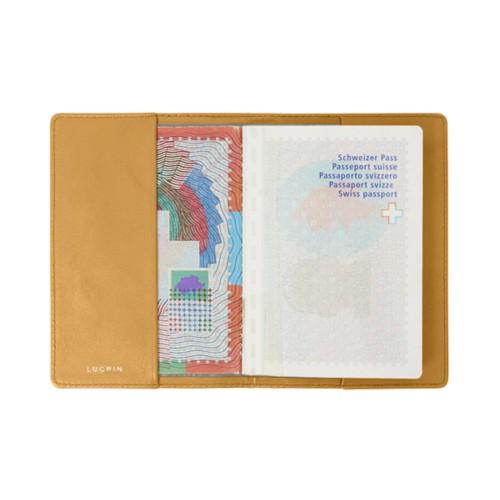 Housse universelle pour passeport - Jaune - Cuir Lisse