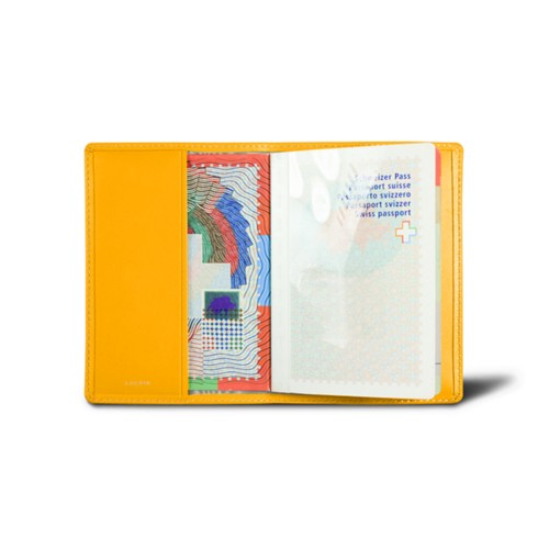 Universal passport cover - Sun Yellow - Smooth Leather