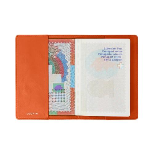 Housse universelle pour passeport - Orange - Cuir Lisse