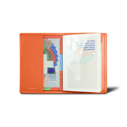 Universal passport cover - Orange - Smooth Leather