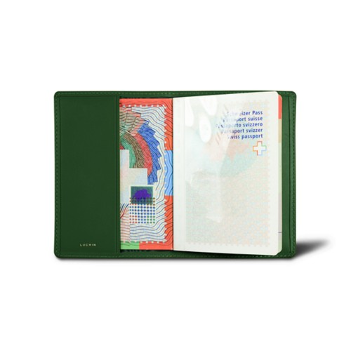 Universal passport cover - Dark Green - Smooth Leather