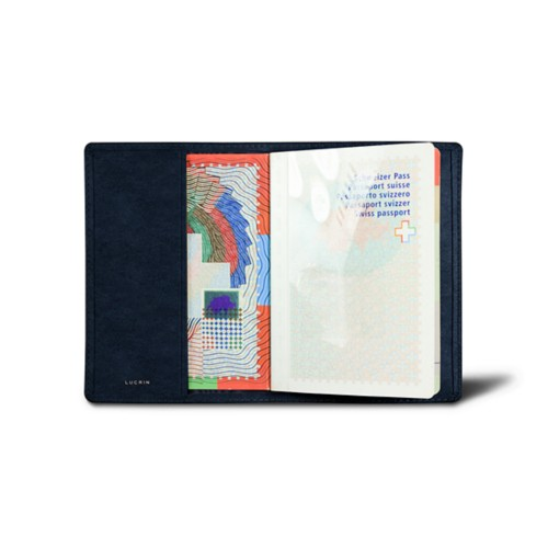 Universal passport cover - Navy Blue - Vegetable Tanned Leather