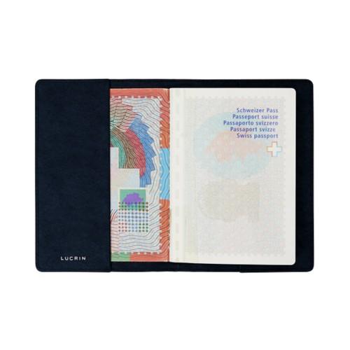 Housse universelle pour passeport - Bleu Marine - Cuir végétal