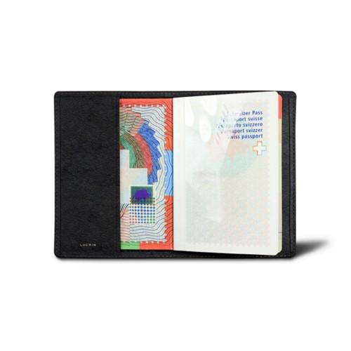Universal passport cover - Black - Vegetable Tanned Leather