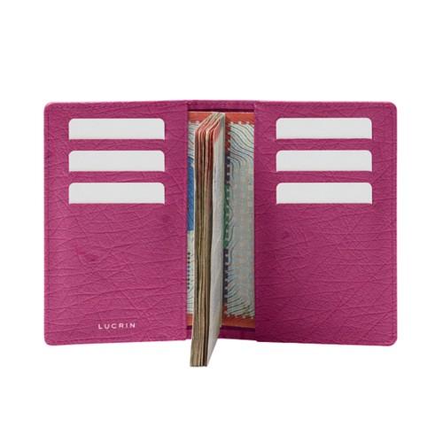 Luxury passport holder - Fuchsia  - Real Ostrich Leather