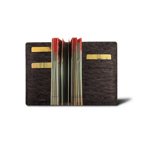 Luxury passport holder - Dark Brown - Real Ostrich Leather