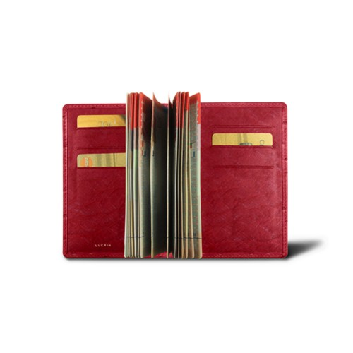 Luxury passport holder - Red - Real Ostrich Leather