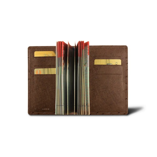 Luxury passport holder - Tobacco - Real Ostrich Leather