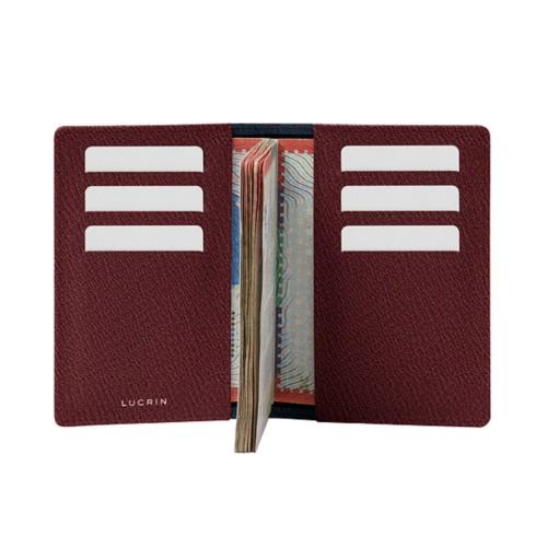 Luxury passport holder - Navy Blue-Burgundy - Goat Leather