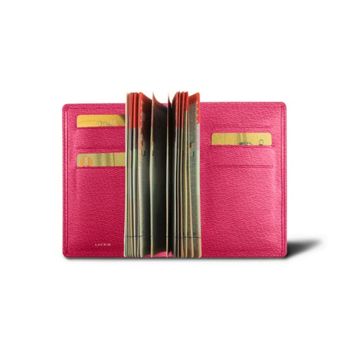 Luxury passport holder - Fuchsia  - Goat Leather