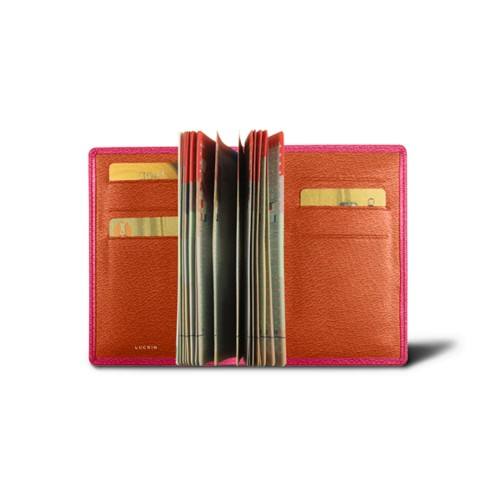 Luxury passport holder - Fuchsia-Orange - Goat Leather
