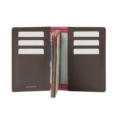Luxury passport holder - Pink-Dark Taupe - Goat Leather
