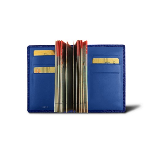Luxury passport holder - Royal Blue - Crocodile style calfskin