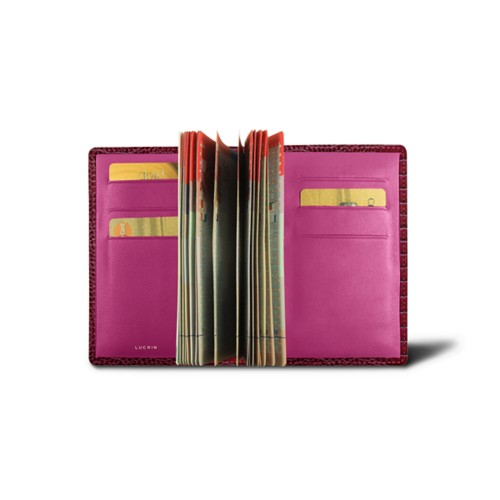 Luxury passport holder - Fuchsia  - Crocodile style calfskin