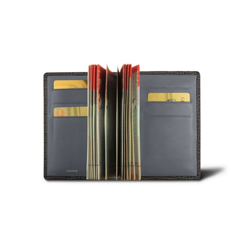 Luxury passport holder - Mouse-Grey - Crocodile style calfskin