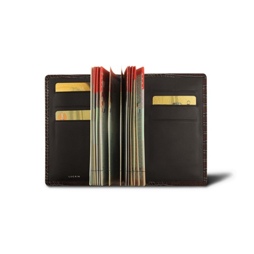 Luxury passport holder - Dark Brown - Crocodile style calfskin