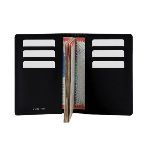 Luxury passport holder - Black - Crocodile style calfskin