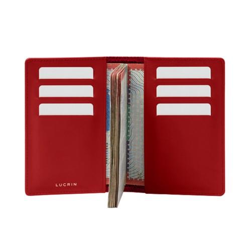 Luxury passport holder - Red - Crocodile style calfskin