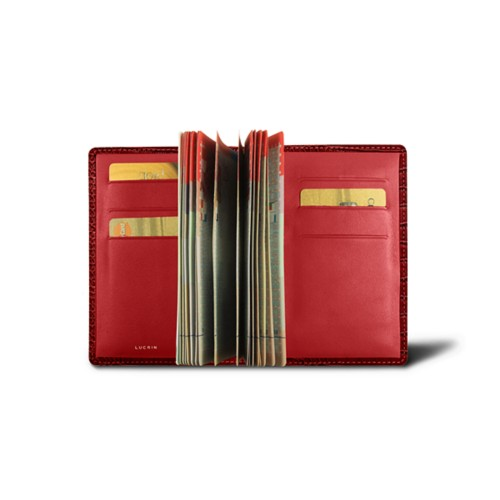 Luxury passport holder - Red - Crocodile style calfskin