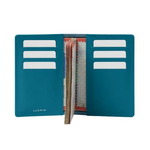 Luxury passport holder - Turquoise - Crocodile style calfskin