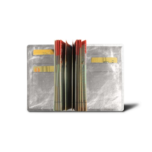 Luxury passport holder - Silver - Metallic Leather