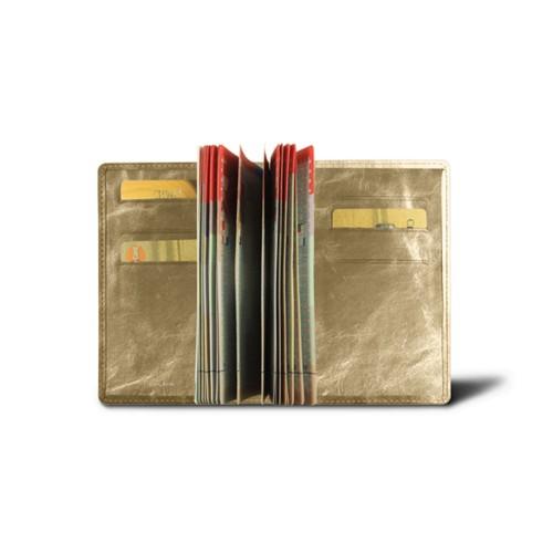 Luxury passport holder - Golden - Metallic Leather