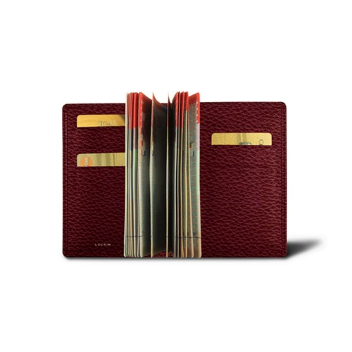 Luxury passport holder - Burgundy - Granulated Leather