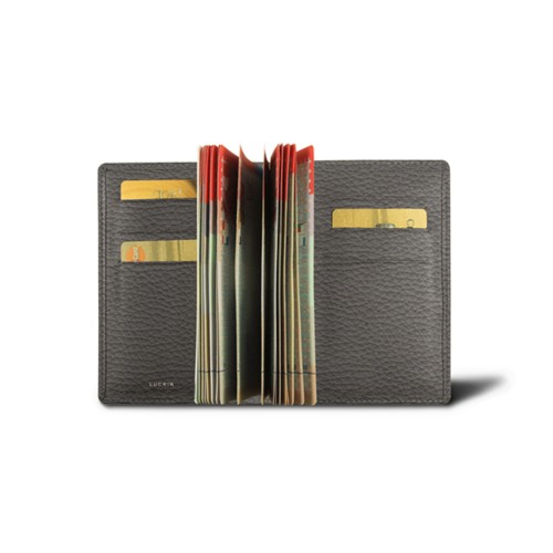 Luxury passport holder - Mouse-Grey - Granulated Leather