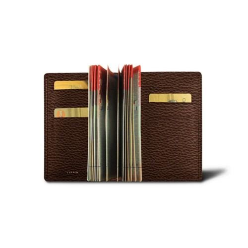 Luxury passport holder - Dark Brown - Granulated Leather