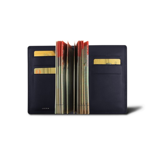 Luxury passport holder - Navy Blue - Smooth Leather