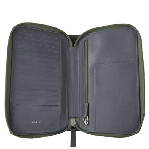 Zipped travel wallet - Mouse-Grey - Crocodile style calfskin
