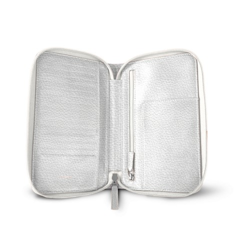 Zipped travel wallet - White - Granulated Leather