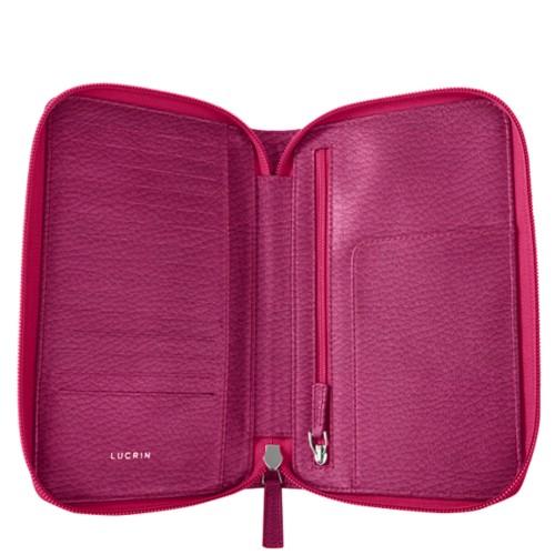 Reiseportemonnaie mit Reißverschluss - Fuchsia  - Genarbtes Leder