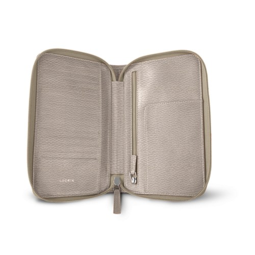 Zipped travel wallet - Light Taupe - Granulated Leather