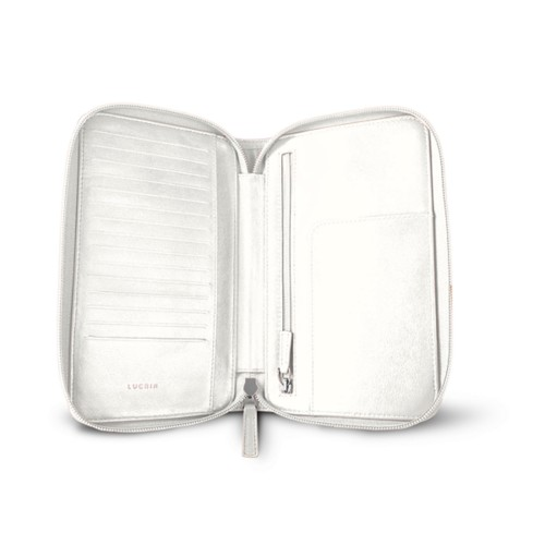 Zipped travel wallet - White - Smooth Leather