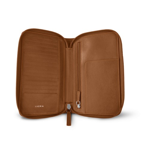 Zipped travel wallet - Tan - Smooth Leather