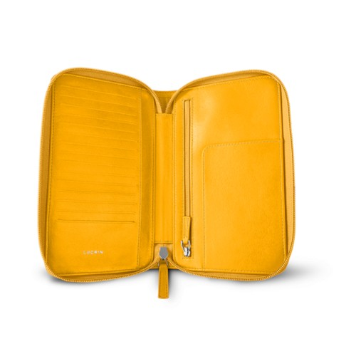 Zipped travel wallet - Sun Yellow - Smooth Leather