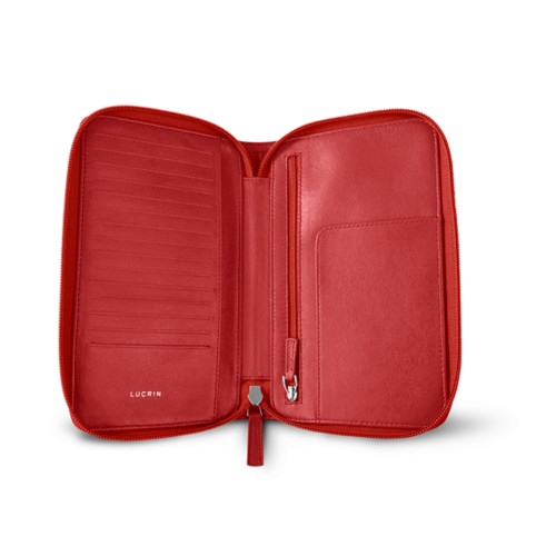 Zipped travel wallet - Red - Smooth Leather