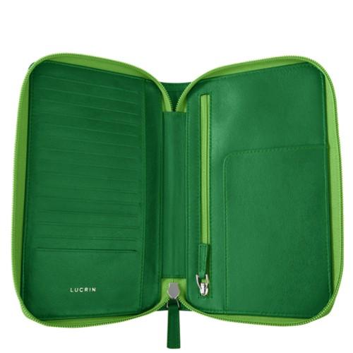 Reiseportemonnaie mit Reißverschluss - Hellgrün - Glattleder