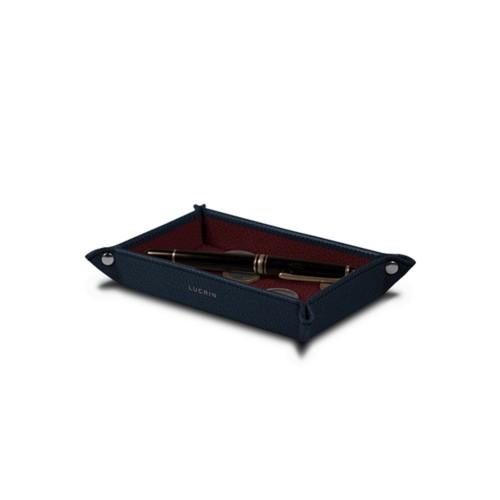 Vaciabolsillos rectangular (17 x 11 x 2.5 cm) - Azul marino-Bordeos - Piel de Cabra
