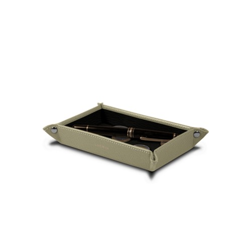Small rectangular tidy tray (6.7 x 4.3 x 1 inches) - Off-White-Mouse-Grey - Goat Leather