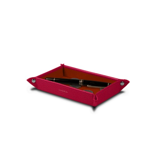 Small rectangular tidy tray (17 x 11 x 2.5 cm) - Fuchsia-Orange - Goat Leather
